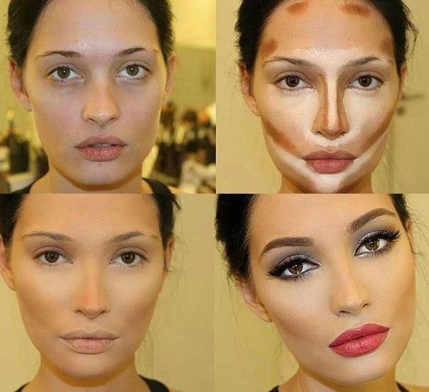 Коррекция лица с помощью макияжа пошагово
